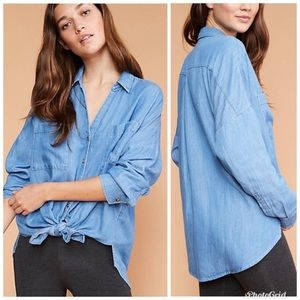 Lou & Grey Chambray Tie Front Button Up Shirt Blue